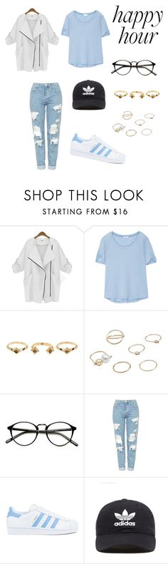 """Baby blue ;Happy Hour"" by rxssuuh ❤ liked on Polyvore featuring Splendid, House of Harlow 1960, MANGO, Topshop, adidas and adidas Originals"