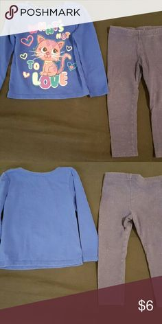 "Blue Outfit This is a size 3T, cool weather outfit. The top is by Garanimals, has long sleeves and is royal blue, with a picture of a glittery pink cat surrounded with colorful hearts and says ""What's not to love?"" in rainbow lettering on the front. The bottoms are by Circo, and are indigo pants (like jeggings) with tiny pink dots on them. This outfit was only worn a few times and has been washed for your convenience. It has no flaws. Offers accepted through offer button. Matching Sets"