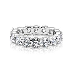 002c416bd 3.57ctw Round Cut Diamond Eternity Ring in 14k White Gold Platinum Group,  Eternity Ring