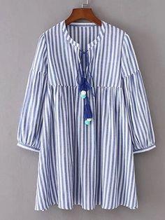 Shop Vertical Striped Tassel Tie Dress With Pom Pom online. SheIn offers Vertical Striped Tassel Tie Dress With Pom Pom & more to fit your fashionable needs. Trendy Dresses, Blue Dresses, Casual Dresses, Short Dresses, Fashion Dresses, Casual Outfits, Mini Dresses, Smock Dress, Tie Dress