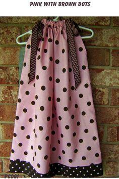 Pink with Brown Dot Pillowcase Dress Sizes 3 by GiraffesJellybeans, $19.99