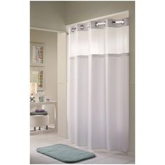 Hookless Shower Curtain and Liner - 71 x 77, Striped Fabric - Double H Mystery by Arcs and Angles