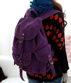 Adorable deep purple bag, nice and huge.