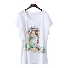 Women cute T-shirt carton creative design tshirts top standard tees   No:51 Content: 71%-85% Fabric: cotton Design:Animated Cartoon,Graphic Tees  Color: enchanting woman, mysterious wreath, bees,flowers, butterflies,fresh girl Size: M, L  M size: Shoulder wide: 36 cm, bust: 82-92 cm, S...