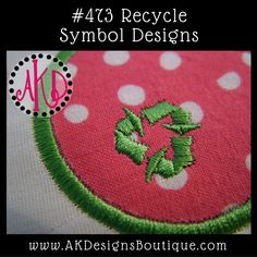 Recycle Symbols Embroidery Designs