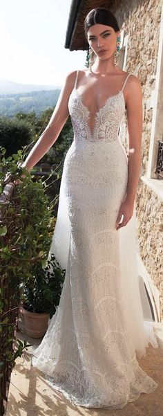 berta bridal 2015 lace sheath wedding dress sexy plunging deep v neckline embellished straps -- Top 100 Most Popular Wedding Dresses in 2015 Part 2 2015 Wedding Dresses, Wedding Suits, Bridal Dresses, Wedding Gowns, Wedding Blog, Lace Wedding, Wedding Venues, Wedding Simple, 2017 Wedding