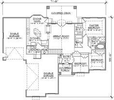 Main Floor Plan 1700 sq ft plan 53-344