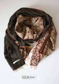 by hand brown scarf