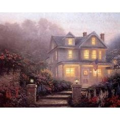 Thomas Kinkade Studios - The official website for the art of Thomas Kinkade, the Painter of Light™. Featuring authentic Limited Edition Paintings, Home Decor, Gifts and Collectibles. Thomas Kinkade Art, Kinkade Paintings, Thomas Kincaid, Art Thomas, Vintage Architecture, Famous Art, Imagines, Victorian Homes, Beautiful Paintings