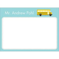 Personalized Note Card -- School Bus