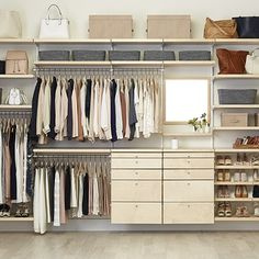 Master closet system container store 15 ideas for 2019 Elfa Closet System, Best Closet Systems, No Closet Solutions, Shelving Solutions, Container Store Closet, Dressing Design, Reach In Closet, Closet Space, Open Closets