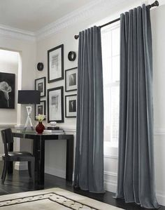 Elegant Curtain Ideas for Large Windows Designing Interior Perfectly: Cool Grey Curtain Ideas For Large Windows Modern Home Office Table Located Nearby Workspace In Luxurious House Design Interior ~ CLAFFISICA Furniture Inspiration Dining Room Curtains, Interior, Curtains Living Room, Home, Curtains Living, Modern Home Office, Living Room Decor, Home Office Table, Living Room Grey