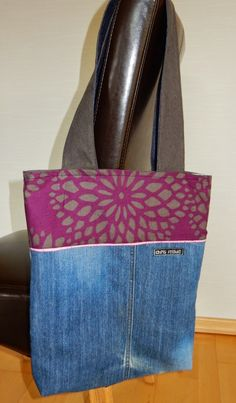Tasche aus Jeans und Bettwäsche / Bag made from old pair of jeans and bed linen / Upcycling