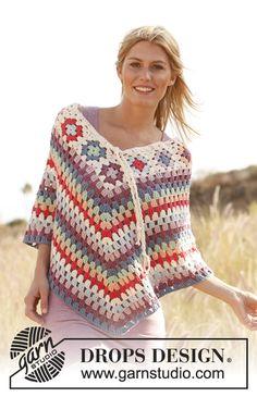 """Poncho DROPS, en ganchillo / crochet, con aplicaciones """"Granny"""" y grupos de p.a.d. en """"Paris"""". Talla: XS – XXL. ~ DROPS Design hand crochet, skirt patterns, crochet granny squares, crochet tutorials, crochet poncho, granni squar, crochet patterns, crochet shawl, summer days"""