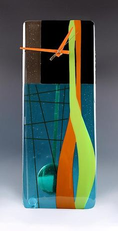 Modern: Nina Cambron: Art Glass Pendulum Clock | Artful Home