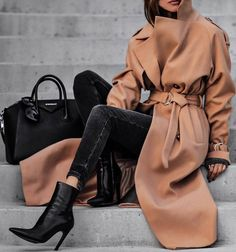 #winter #outfits long beige jacket, dark grey jeans, black boots