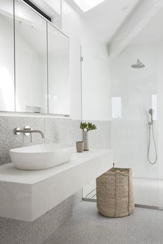 A practical yet elegant surface mount concrete basin, this is one of our signature pieces. The feminine curved design provides a sculptural element to any bathroom.  Location @noabythebeach  Photography @Villastyling   Arc Basin in Snow White by Concrete Nation.  Bathroom ideas / bathroom tiles / bathroom decor / bathroom design / Concrete Nation / Concrete bathrooms / Concrete interiors / Industrial / Raw Natural Material / Interior Design Bathroom Design Inspiration, Bathroom Interior Design, Interior Decorating, Concrete Basin, Concrete Bathroom, Bathroom Styling, Bathroom Ideas, Concrete Interiors, Moroccan Decor