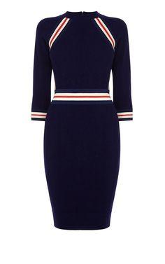 Платье от Karen Millen Платье футляр с рукавом, с отделкой, комбинированное, прямого кроя