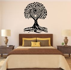 Tree of Life Yin-Yang Style Vinyl Wall Decal by stickemupvinyls