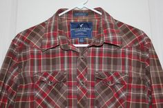 American Eagle Mens Large Brown Red Plaid Pearl Snap Long Sleeve Vintage Fit  #AmericanEagleOutfitters #Western