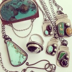 Most of the new items are now in the shop! Turquoise Mountain Pendant (bottom left of this photo) will be listed tomorrow.  (at soliloquyjewelry.etsy.com)