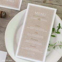 menu - mariage - arbre - kraft - nature - champetre - blanc - erable - sobre - elegant