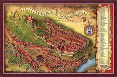 Map of Sighisoara, Romania is much the same today ! Trust Your Instincts, Central Europe, Eastern Europe, Aerial View, 18th Century, City Photo, Medieval, Blog, Travel