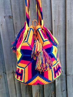 Authentic Mochila Wayuu traditional size bag, handwoven in La Guajira