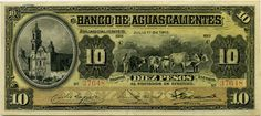 Mexico 10 Pesos banknote issued by the El Banco de Aguascalientes, dated 1910. Mexico banknotes, Mexican paper money, Mexico bank notes, Mexican banknotes, Mexico paper money, Mexican bank notes collection of currency notes and bills, Billetes Mexicanos, Mexico Revolutionary paper money, banknotes of the Mexican Revolution, Mexico private banks banknotes.