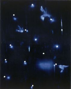 Ross Bleckner (American), Galaxy with Birds, -an investigation of change, loss, and memory, often addressing the subject of AIDS -uses symbolic imagery rather than direct representation, and his work is visually elusive, with forms that constantly change focus -much of Bleckner's work can be divided into distinct groups or series with motifs repeated from painting to painting -he is also in the habit of redeploying and combining old motifs www.rbleckner.com