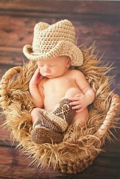 crochet baby boots Cowboy Boots and Cowboy Hat Cowboy baby shower Brown by Dremnstar So Cute Baby, Baby Kind, Baby Love, Cute Kids, Cute Babies, Newborn Pictures, Baby Pictures, Chapeau Cowboy, Cowboy Baby Shower