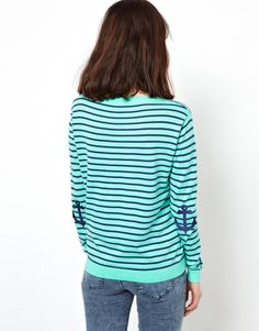 ASOS | ASOS Striped Sweater with Anchor Patches at ASOS