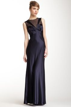 A.B.S. by Allen Schwartz Sleeveless Mesh Front Gown