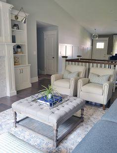 Living room tufted ottoman. Like it know Living room tufted ottoman. Living room tufted ottoman. Living room tufted ottoman #Livingroom #tuftedottoman Sita Montgomery Interiors