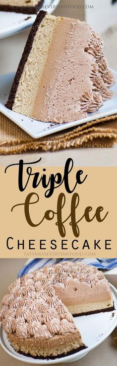 Triple Coffee Cheesecake (video) Coffee lovers – this extravagant cake is for you! My 'Triple Coffee Cheesecake' is a combination of Kahlua cheesecake, Kahlua-coffee mousse, topped off with coffee-chocolate whipped cream. All three layers come together to Kahlua Cheesecake, Best Cheesecake, Cheesecake Recipes, Dessert Recipes, Kahlua Cake, Kahlua Cupcakes, Chocolate Cheesecake, Cake Chocolate, Chocolate Coffee