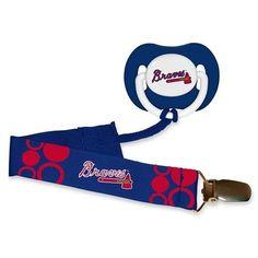 Atlanta Braves MLB Pacifier Clip & Pacifier