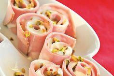 sushi di  mortadella  - cured meats and pistachio nuts appetizer Recipe