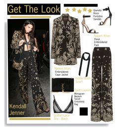 """Get The Look: Kendall Jenner"" by hamaly ❤ liked on Polyvore featuring Yves Saint Laurent, Naeem Khan, GetTheLook, StreetStyle, kendalljenner, embroidered and waystowear"