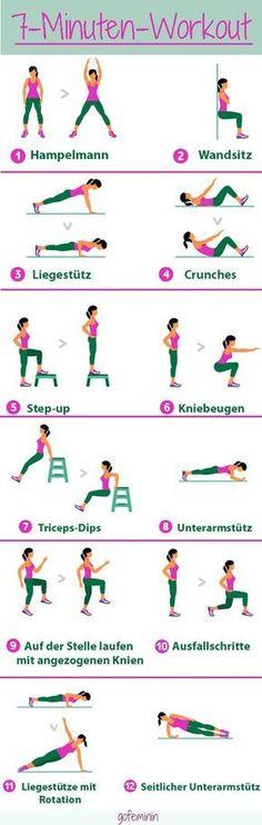 Ein effektives Workout muss nicht lange dauern - wir zeigen euch das 7-Minuten-Workout! Jede Übung wird für 30 Sekunden ausgeführt, mit 10 Sekunden Pause für den Positionswechsel.