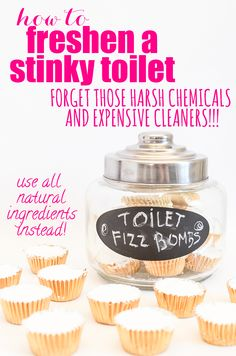 The All-Natural Way to Freshen a Stinky Toilet! Forget those harsh chemicals and expensive cleaners... use all natural ingredients instead. These Toilet Fizz Bombs are so easy to make, you won't believe it.