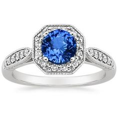 18K White Gold Sapphire Victorian Halo Ring