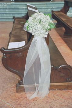 Baby's Breath on church pews