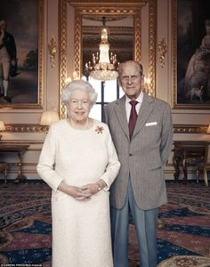 One of the official platinum wedding anniversary portraits of the Queen and Prince Philip.