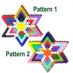 Star Kaleidoscope Patterns /  Perler Beads - Hama perlen - Bügelperlen