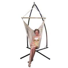 Merveilleux Free Standing Hammock Chair   Mexican Crochet Rope Hammock Chair   Beige