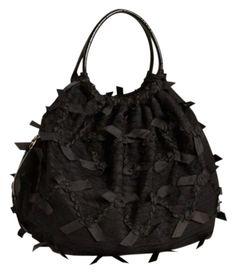 cc3a8285bb Valentino Lace Black Ribbon Handbag with patent leather trim