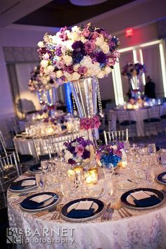 Love the pop of blue with the purple and white