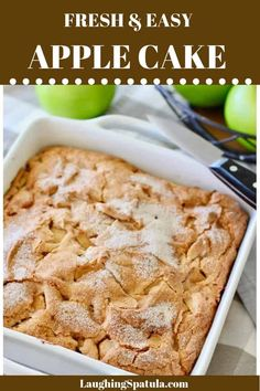 Fresh Apple Cake that comes together quickly! Simple fresh ingredients that go wow when mixed together. Your house will smell like a bakery! Easy Apple Cake, Fresh Apple Cake, Apple Cake Recipes, Easy Cake Recipes, Baking Recipes, Fun Desserts, Dessert Recipes, Cookbook Recipes, Dessert Ideas
