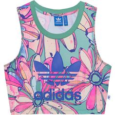 ADIDAS ORIGINALS Bananas Cropped Multi // Printed crop top ($44) ❤ liked on Polyvore featuring tops, summer crop tops, slimming tops, pattern tops, pink top and adidas originals