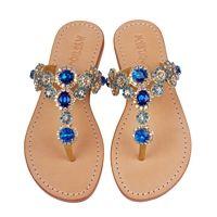 Blue Jeweled Sandals | Blue Sandals for Women | Mystique